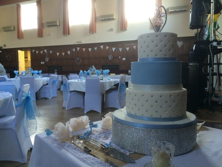 A three-tiered wedding cake at Portsmouth Irish Society