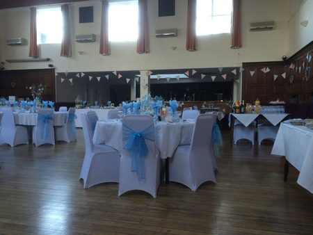 Tables set out at a Pale Blue Wedding at the Portsmouth Irish Society
